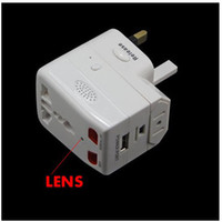 Wholesale Motion Detecting camera plug universal adaptor mini DV spy hidden pinhole camera video recorder BD