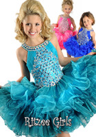 Wholesale Glitz Mini Pageant Dresses Short Bateau Cupcake Girls Pageant Dresses Beads Multilayer Green Toddler Pageant Dresses Cute Kids Party Dresses