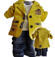 Wholesale Korean Style Children Boys Blazer Suit Autumn Toddler Boy Ivory Yellow Casual Cotton School Style Outfits Child Clothing B1413