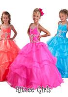 Halter girls pageant dresses size 10 - girls pageant dresses size Halter Pink Blue Water Lemon Girls Pageant Dresses Princess Girls Ball gowns