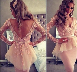 Popular Lebanon Arabic V-neck Long Sleeves Open Back Knee-Length Tulle Appliques Beaded Evening Dresses Prom Dresses Homecoming Party Gowns