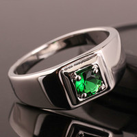 Wholesale New Green Emerald Rhodium Plated Men s Solid Silver Ring Man NAL Size Selectable R503