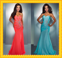 Wholesale Inspired Nemo Coral Aqua Sweetheart Mermaid Chiffon Crystal Sexy Sequin beaded Long Prom Evening Formal Gown Dress Bridesmaid Dresses Gown