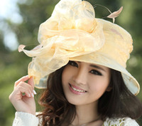 Wholesale Women Organza Hats Winter Hat Organza Flower Fabric Women Hats Women s Sun shading Hat