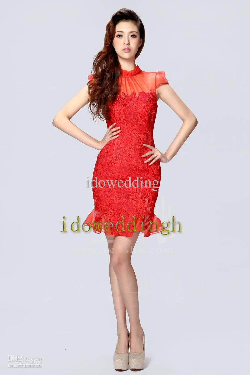 Hot Sale Charming Chinese Dresses High Collar Red Cheongsam Short ...