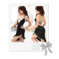 Wholesale Women s Sexy Lingerie V Black White Flowers Open Back Skirt Night Dress AU