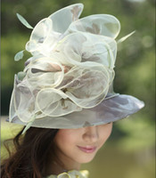 Wholesale Chapeau Hat Women Winter Dress Hat For Church Women Organza Hat Wide Brim Light Color Fresh Sun Shading Organza Hat