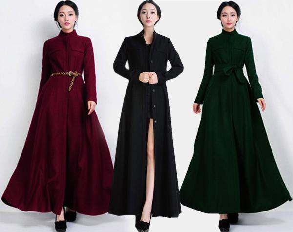 Elegant New Women Stand Up Collar Slim Full Length Wool Coat