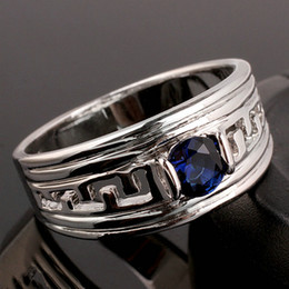 Support Wholesale Blue Sapphire Men Real Silver Ring Man NAL Size 10 11 12 13 R518