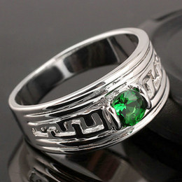 Hot Sale Green Emerald Rhodium Finish Men Sterling Silver Ring Man NAL Size 10 to 13 R518