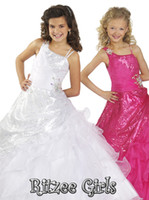 Spaghetti Beads Tulle Cheap Little Girl New Amazing White Ball Gown Ritzee Tulle Floor Length Pageant Dresses For Girls