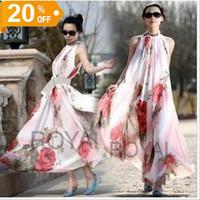 Jupes bon marché pour l'été Avis-2016 Mode Femmes Robe Eté Bohême longue robe Maxi robe de soirée Fleurs imprimé mousseline sans manches Cheap Casual Dress Livraison gratuite