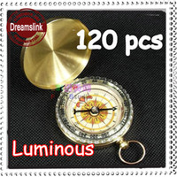 Wholesale 120PCS Hot SALE New In Retail Box Brass Push Button Direction Compass POCKET COMPASS Luminous EMS