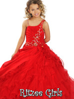 Spaghetti Beads Tulle Cheap Little Girl New Amazing Red Ball Gown Ritzee Spaghetti Tulle Floor Length Pageant Dresses For Girls