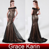 Wholesale Grace Karin Cheap Off Shoulder Capped Sleeves Lace Dress Long Sheath Mother of the Bridal Dresses CL4471