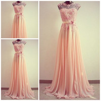 Wholesale 2013 Pearl pink jewel A line Brush chiffon Applique Beads Crystal Long prom gowns Plus size Evening dress Fashion Pageant dress
