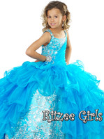 Tulle floor length Reference Images Cheap Little Girl New Amazing White Blue Ball Gown Ritzee Off Beads Tulle Floor Length Pageant Dresses For Girls