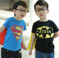 Unisex children fashion garment - christmas baby cloth gift Halloween boys short sleeve t shirt Children superman batman tops Kids Summer fashion garment lcagmy T pc