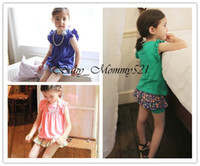 Girl Summer Cotton Blends 13080718 Wholesale New 2013 Girls Clothing Sets Fly Sleeve T-shirt and Floral Pantskirt Baby Children Clothes Free Shipping