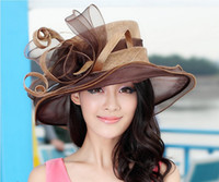 Wholesale Women Church Sinamay Hat Sinamay Fabric With Organza Brim Winter Dress Hat Sun Hat Sinamay Ribbon Feather Hat