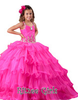 Cheap Cheap Little Girl's Pageant Dresses New Amazing Ball Gown Ritzee Flowers Beads Tulle Pageant Dresses For Girls
