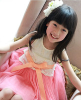 Wholesale 2016 summer new embroidery Lei mesh yarn bow vest dress girl princess dress children