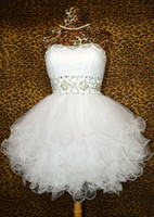 Wholesale Custom made Ball Gowns Sweetheart White Sequins Short Graduation Dresses Tulle Cocktail Prom Evening Homecoming dress gown WE1298