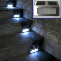 Wholesale Piece Solar Powered LED Garden Stainless Light LED Home Stair Pathway Deck Corridor Step Light