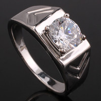 Wholesale Classic White Topaz White Gold Finish Men Genuine Sterling Silver Ring Man NAL Size R513