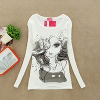 Wholesale 2013 fall and winter clothes women s cotton round neck long sleeved T shirt pure white pattern