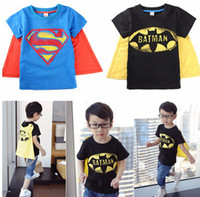 Summer baby cloth brands - christmas baby cloth gift Halloween boys short sleeve t shirt Children superman batman tops Kids Summer fashion garment lcagmy T pc