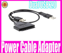 Wholesale New Dual USB to SATA Pin Data and Power Cable Adapter For inch HDD SSD
