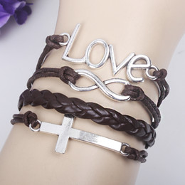 Wholesale Silver Handmade infinity love and cross charms leathers suede wrap bracelet mixed chain new