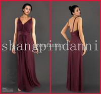 Reference Images   Wholesale - 2013 New Floor Length Dark Wine Chiffon V-Neck Sheath Greek Goddess Cheap Party Bridesmaid Dresses