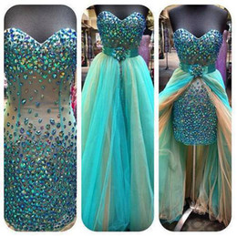 Wholesale 2014 DHgate Sexy Hunter Green Mini Short Hi lo Pageant Dresses Above Knee Strapless Beaded Crystals Colorful Rainbow Prom Cocktail Dresses