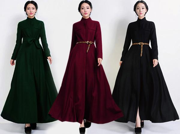 Women Stand Collar Long Sleeve Slim Woolen Coat Overcoat Ladies ...