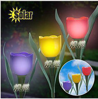 solar power flower - Pieces Novelty Solar Powered Tulip flower light Garden landscape Light Solar lawn lamp Yard Stake Decor