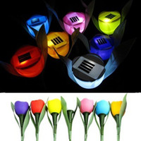 Wholesale High Quality Pieces Novelty Outdoor Garden Home Path Way Solar Powered LED Tulip Landscape Flower Lamp