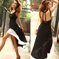 milk Silk long summer dresses - 2013 Sexy Women Lady Deep U Neck Bare Back Backless Long Hem Tank Swallow Tail Sleeveless Party SUMMER Cocktail Dresses