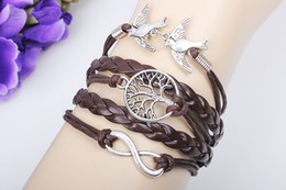 Wholesale hot sale Vintage Antique silver tree of life infinity bracelets with bird and wax cord bracelet hy46 colors