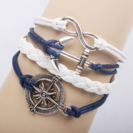 Antique silver compass infinity anchor bracelet with wax cord bracelet Q8023