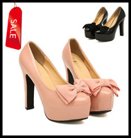 Wholesale Sweet Bowtie Pearl Nude Pink Black Color Patent PU Leather Glossy High Platform Squared Heel Pumps Shoes size to