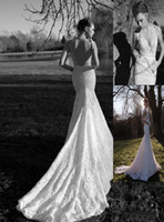 Wholesale 2013 New Inbal Dror Sexy Deep V Neck Luxury Lace Beautiful Bow Backless Mermaid Wedding Dresses Bridal Gown