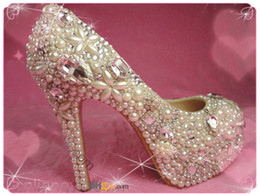 Wholesale new fashion wedding female red bottom Rhinestone Crystal platform ultra high heel pumps ladies wedding shoes