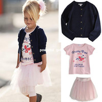 Girl Spring / Autumn O-Neck free shipping!china wholesale girls dress sets,3 pcs children clothing sets,girls coat+t-shirt+tutu skirt,1-6 years