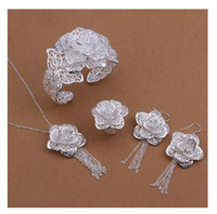 Wholesale - 925 silver plated Lady's flower style jewelry ne...