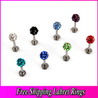 Wholesale Trail Order Lip Labret Studs Lip Rings Labret Ring Piercing Body Jewelry Grystal Gem Ball Color