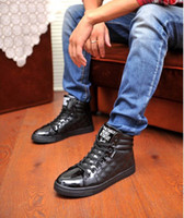 Lace-Up Men PU Men's spring fashion high shoes British hip-hop shoes casual shoes shoes
