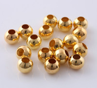 Wholesale gold Tone Pave mm mm Hole spacer beads round Smooth bead Copper Beads Loose Beads for European jewelry findings