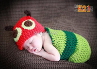 Cheap Wholesale - 10sets lot Lovely Baby crochet hat+ sleeping bag baby cocoon toddler Santa Cocoon and Hat infant photography props Free shipping